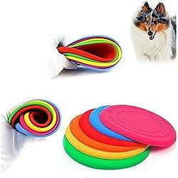 Efbock Silicone perro de mascota de vuelo disco de dientes resistentes entrenamiento de traer juguetes jugar Frisbee 2pcs