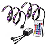 Vansky® TV Backlight for LED TV/Gaming PC, 2 LED Strips Lights, Multi Color RGB Home Theater Bias Lighting Kit With Remote Control for Flat Screen TV Accessories, Desktop PC (Reduce Eye Fatigue and Increase Image Clarity)