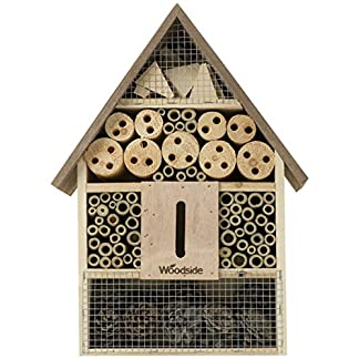Woodside Wooden Insect & Bee House Natural Wood Bug Hotel Shelter Garden Nest Box 14