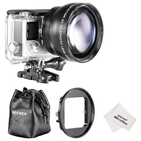 Neewer® 52MM High Definition Teleobjektiv Set für Gopro Hero 3 + / 4 umfasst Set: (1) 52MM 2X High Definition Teleobjektiv (inklusive Objektivtasche) + (1) 52mm Objektiv-Filter-Ring-Adapter + (1) Mikrofaser