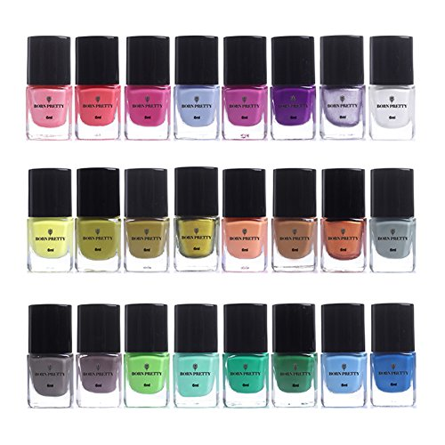 Born Pretty 6 ml Stamping Candy Color Nail Art Teller Druck Polish Lack 24 Farben