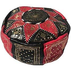 Etnico Arredo Puff Marroquí Puf Marruecos piel genuina oriental reposapiés B5 …