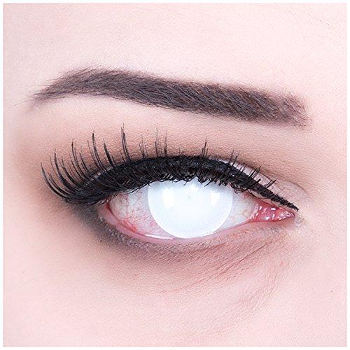 Farbige komplett weisse Sclera Crazy Fun Kontaktlinsen ohne Stärke 'Blind White' perfekt zu Fasching, Karneval und Halloween mit gratis Linsenbehälter Topqualität zu Karneval und Halloween! ohne Stärke