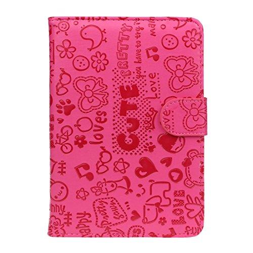 Sannysis Für 7-Zoll-Android-Tablet Neue Universal-Leder-Schlag-Standplatz-Fall-Abdeckung (hot pink)