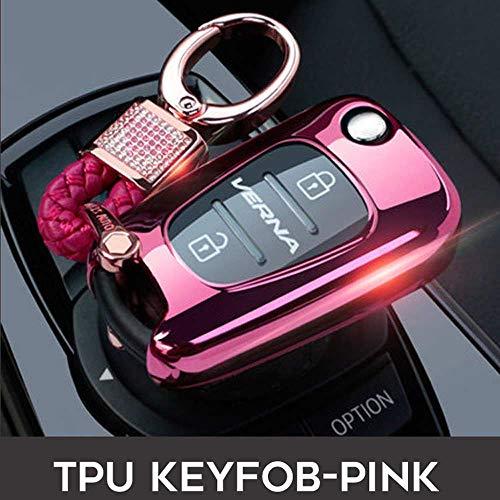 SUNQQB Leuchtende Zink-Legierung PU autoschlüssel Fall Shell Cover Keychain Für Changan CS75 EADO CS35 RAETON CS15 V3 V5 V7 Schlüsselanhänger,pink A -