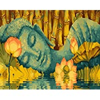 DIY Paint by Numbers for Adults Children, ABEUTY Lotus and Buddha 16x20 inches Number Painting Art Therapy