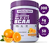 HealthyHey Sports BCAA Powder 2:1:1, Branched Chain Amino Acids, BCAAs, Tangy Orange, 50