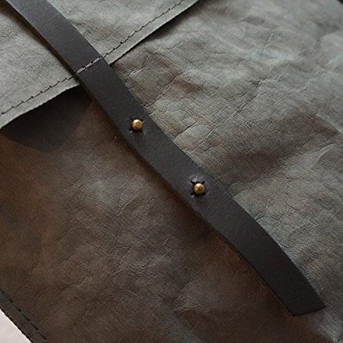 bun-di Swiss® - SHOPPER-BACKPACK STACY | Vintage Handtasche Rucksack 2 in 1 | Damen Umhängetasche mit Rucksackfunktion aus Waschbarem Papyr mit Lederoptik �?26x38x8cm ANTHRACITE