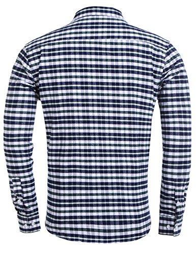 Coofandy Herren Hemd Kariert Cargohemd Trachtenhemd Baumwolle Freizeit Regular Fit 180-Grün