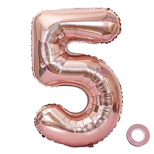 l 0-1-9 Rosegold Geburtstag Folienballon Helium Folie Pinke Luftballons für Geburtstag Jubiläum 40 Zoll - Riesenzahlen #5 ()