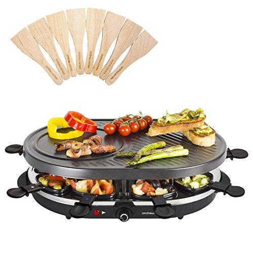 Andrew James Traditionelle Raclette-Grill für 8 Personen mit Pfännchen und Holzspateln, Einstellbaren Thermostat, Antihaftbeschichtete Oberfläche für Einfache Reinigung