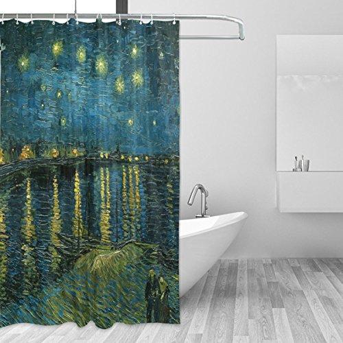 an Gogh Starry Nacht über der Rhone Bad Wasserdicht Polyester-Mildewproof-, Vorhang für die Dusche 12Haken Sichtschutz Home Badezimmer 182,9x 182,9cm ()