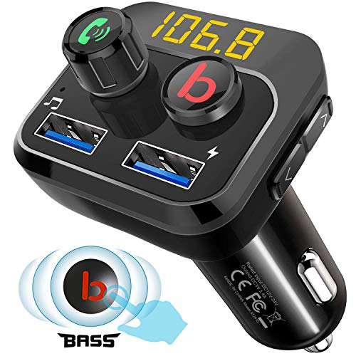 FM-Transmitter, Tinzzi Radio Bluetooth V5.0 FM Transmitter Auto mit Bass Booster, Freisprecheinrichtung MP3 Player Car Kit, Support TF Card/USB Disk, Dual USB Ports 5V/3.4A für iPhone und Android Car Kit Mp3-player