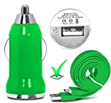 """DOOGEE X5S 5.0"""" Car Charging Power Adaptor - CE / RoHS Approved Ultra Compact Fast and Durable Cigarette Socket Single USB Port Travel Charging Adaptor In-Car Charger with Anti Tangle Micro USB Data Sync/ Charging Cable ( Shiny Green ) by LOLO�"""
