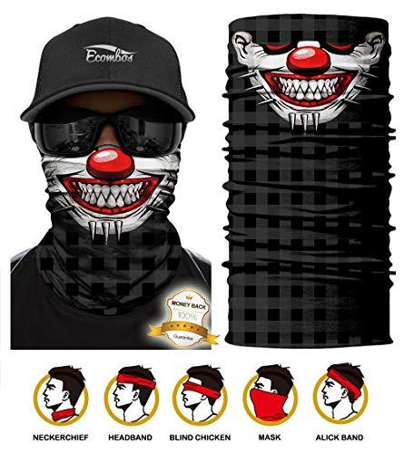 ECOMBOS Multifunktionstuch - Bedrucktes Schlauchtuch Bandana Face Shield Gesichtsmaske Halstuch Qualitäts Bandana, Ski Motorrad Paintball Maske (Clown)
