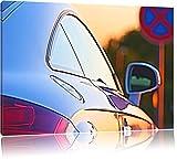 Auto im Sonnenuntergang, Bild auf Leinwand, XXL riesige Bilder fertig gerahmt mit Keilrahmen, Kunstdruck auf Wandbild mit Rahmen, günstiger als Gemälde oder Ölbild, kein Poster oder Plakat, Format:120x80 cm