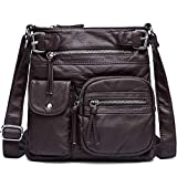 Myhozee Umhängetasche Damen Weiches Leder Schultertasche,Messenger Handtasche Taschen Crossover Bag für Frauen