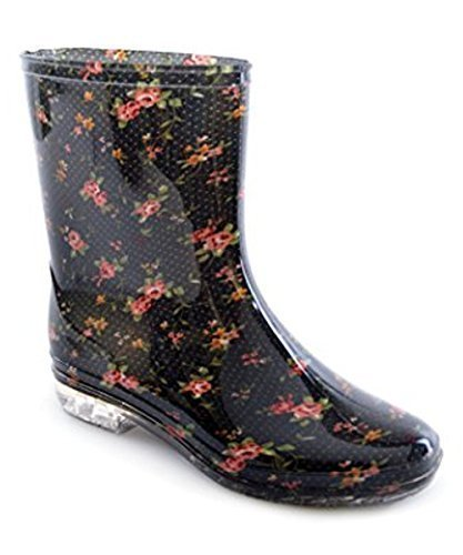 Ladies Short Floral / Flower Print Wellies Wellington Boots (UK 6 (EU...