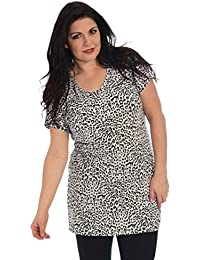 55f2d9f3141 Nouvelle Collection New Womens Tunic Plus Size Tops Ladies Monochrome Leopard  Animal Print T-Shirt