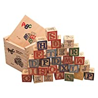 JujubeZAO Toy for Gift, 27Pcs/Set Wooden Alphabet Letters Blocks Stacking Craft Kids Educational Toy Developmental Toy, Alphabet Craved, Easy to Store, Colorful