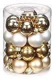 Inge Glas 15165D001 Kugel 30 mm, 28 Stück/Dose, Snow Princess-Mix(brocade,weiß matt,creme gold,bronze)