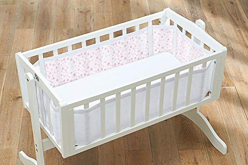Atmungsaktiv Kinderbett-Netzfutter, rosa Sterne