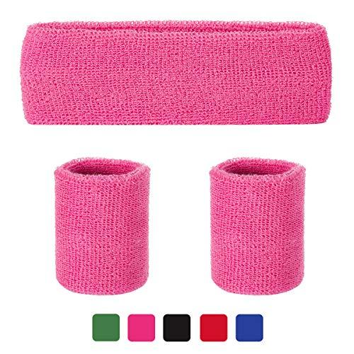 LADES Schweißbänder Set - 3 Stück Schweißband Sport Stirnband und Armbänder Schweiß absorbierend Sport Armband Wrist Wraps für Männer und Damen(Rosa)