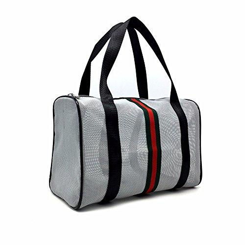 la baignade imperméables en pvc transparent fitness à sac, sac de plage, maquillage,maille gris elliptique complète