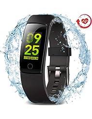 Pulsera de actividad MorePro impermeable con monitor de presión arterial de frecuencia cardíaca, pulsera inteligente