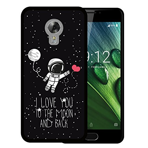 Acer Liquid Z6 Plus Hülle, WoowCase Handyhülle Silikon für [ Acer Liquid Z6 Plus ] Astronaut Herz - I Love To the Moon And Back Handytasche Handy Cover Case Schutzhülle Flexible TPU - Schwarz