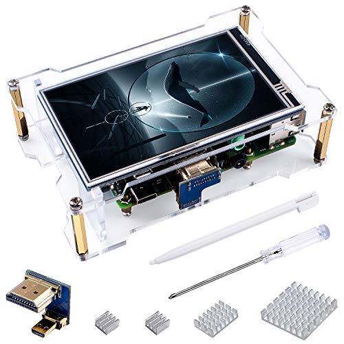 Bruphny 4 inch Touch Screen con Case per Raspberry Pi 4, Display IPS con Ampio Angolo Visualizzazione, Risoluzione 800 x 480, Ingressi HDMI, 4 x Dissipatore, Penna Touch per Raspberry Pi 4 modello B