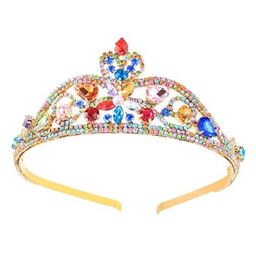 Santfe Damen Queen Princess Bunte Kristalle Strass Blumen Krone Stirnband Tiara Haar Kostüm Zubehör stil 1 (Bunte Haare Kostüm)