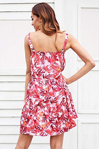 TCQJOG Strap Sleeveless Boho Summer Dress Women Floral Print Stripe Mini Dress Casual Beach Short Dress L Print