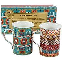 Fabulous Navajo tessitura Textiles–Set di 2tazze in porcellana in scatola regalo, Leonardo