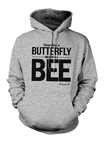 Fly Like A Butterfly Sting Like A Bee Muhammad Ali Quote Hoodie Sweatshirt Grey Medium -