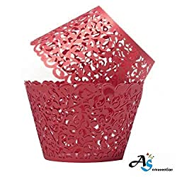 A&S Creavention Vine Cupcake Holders Filigree Vine Designed Decor Wrapper Wraps Cupcake Muffin Paper Holders - 50pcs (50, Red)