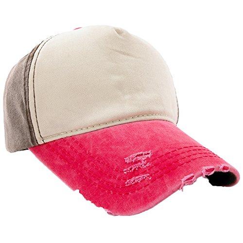 Unisex Baumwolle Baseball Cap Star Sport Mütze Baseballkappe Snap back Trucker MFAZ Morefaz Ltd (Plain Brown Pink) - Dc-mütze