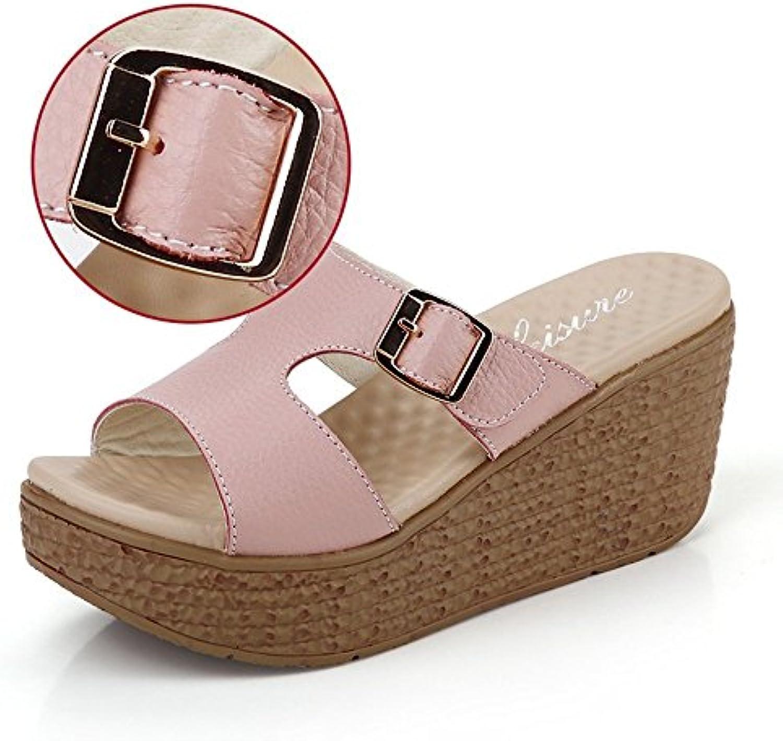 LISABOBO 6cm high-heeled Shoes d'été Cool Chaussons Chaussons Chaussons Chaussons de plage en plein air(blanc / bleu/rose)/élégant...B07CF72JTGParent   Choix Des Matériaux    Une Bonne Conservation De Chaleur  bd1f59
