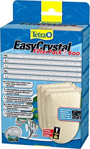 Tetra EasyCrystal Filter Pack C600 Filterpads, Filtermaterial mit Aktiv-Kohle, integrierter Timestrip zeigt Wechsel an, 3 Stück