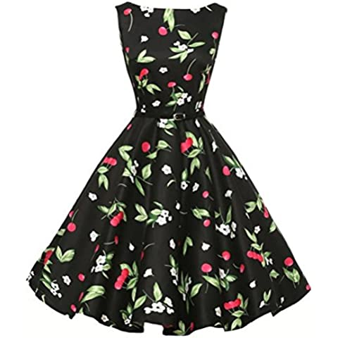 DRESHOW Women's Vintage 1950's Sleeveless Floral Swing Cocktail Party