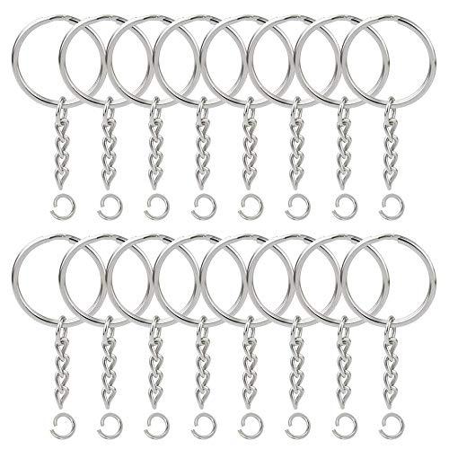 Lezed 20 pcs catene a chiave divise portachiavi key chain anelli con anello di prolunga a catena aperta e connettore a vite a forma di occhio per risultati di gioielleria diametro da 25mm