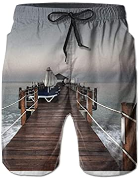 Funny Caps Amazing Wood Bridge Seaside Men's/Boys Casual Swim Trunks Short Elastic Waist Beach Pants with Pockets