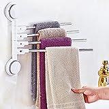 DZXM Badezimmer-Turm-Aufhänger-Edelstahl-Handtuchhalter-Regal-Speicher-Duschregal-Saug-Art, Die Rotiert