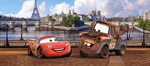 1art1 77434 Cars - Lightning McQueen Und Hook In Paris Fototapete Poster-Tapete 202 x 90 cm -