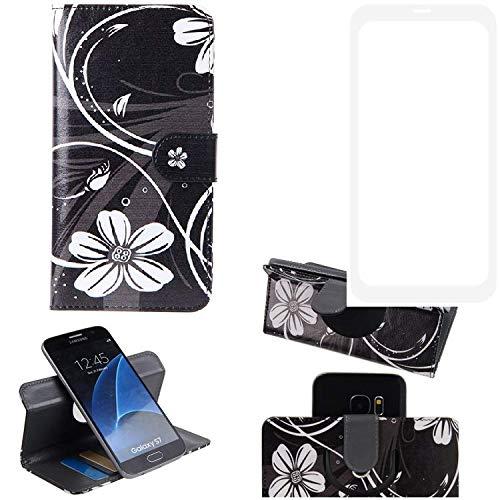 K-S-Trade® Schutzhülle Für Leagoo KIICA Power Hülle 360° Wallet Case Schutz Hülle ''Flowers'' Smartphone Flip Cover Flipstyle Tasche Handyhülle Schwarz-weiß 1x