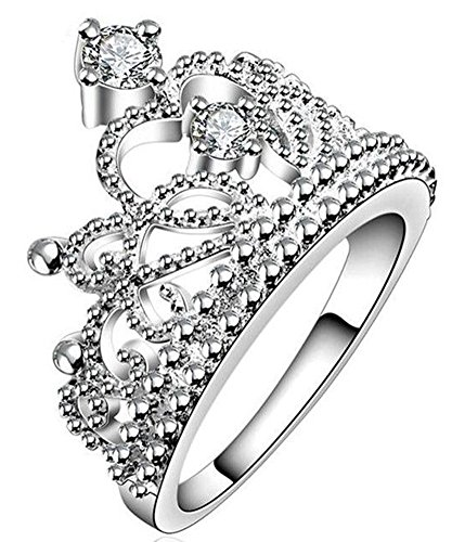 Crown Rings Jewelry AAA+ Cubic Zircon (SIZE : 8) ()