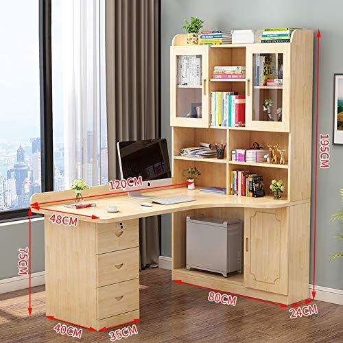 JiaQi L Förmige- Home Office Desk,massivholz Ecke Computertisch Mit Bücherregalen,schreiben Computer Schreibtisch Mit Schublade Und Mainframe-Regal-n 120x48x195cm(47x19x77inch) -
