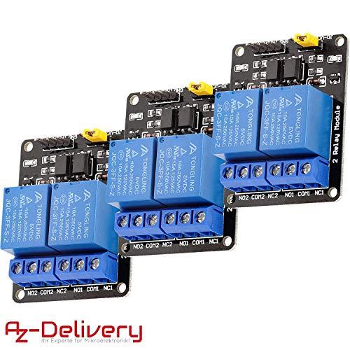AZDelivery 3 x 2-Relais Modul 5V mit Optokoppler Low-Level-Trigger für Arduino inklusive eBook