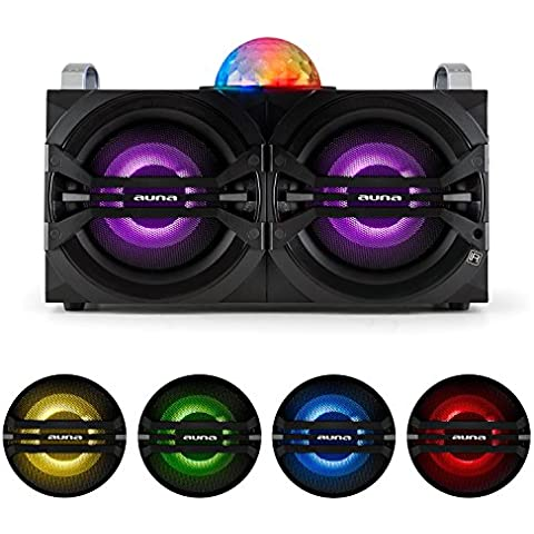 auna DisGo Box 265 Sistema de audio para fiestas altavoz portátil Bluetooth USB con micrófono inalámbrico (50W RMS potencia, jelly ball, amplificador integrado, sintonizador radio FM, batería, efectos de luz LED colores, entrada AUX, disco móvil, mando distancia, 2x