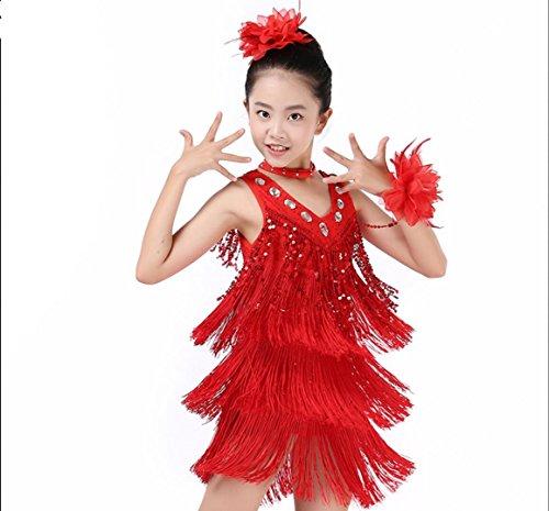 ische Tanzkleidung für Kinder Kinder Latin Dance Kostüm Kinder Latin Dance Kleidung Latin Spiel Kleidung weiß/gelb/rot/blau/rose rot, 3xl, red (Latin Dance Kostüme Kinder)